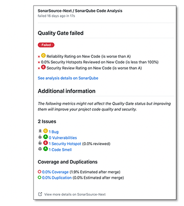 Failed Quality Gate in GitHub Pull Request
