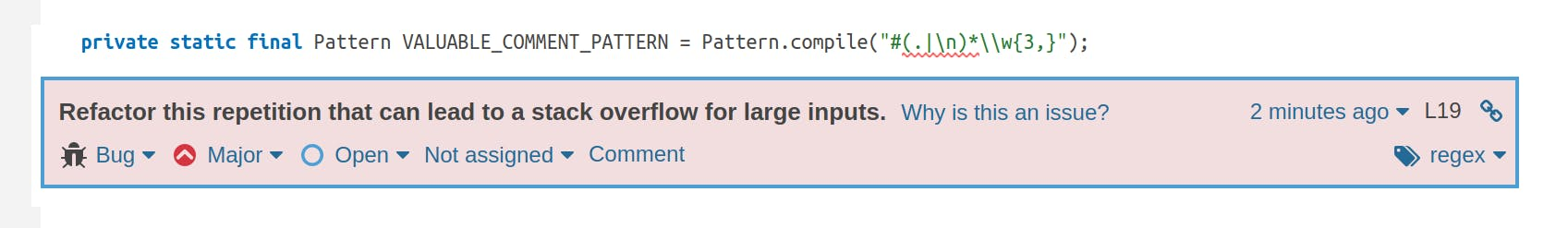 An issue is raised on a repetition in a regex which could lead to a stack overflow.