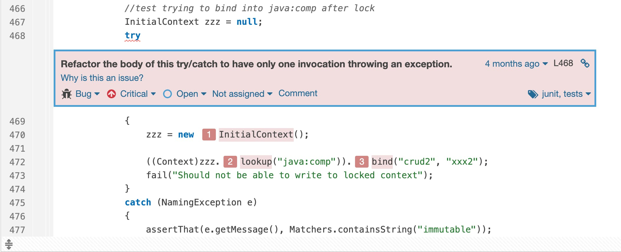 When multiple calls in your `try` can throw the same exception, what does the assertion in the `catch` really test?