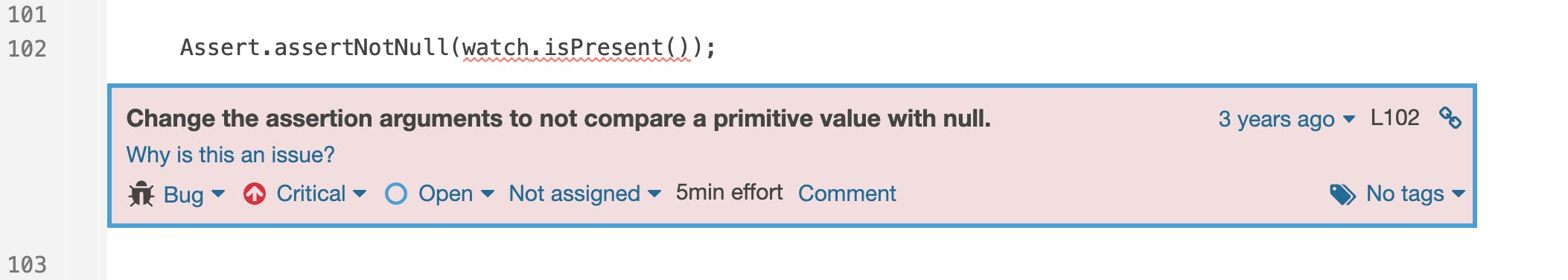 `Assert.assertNotNull` shouldn't be passed a primitive value; it will never be `null`.