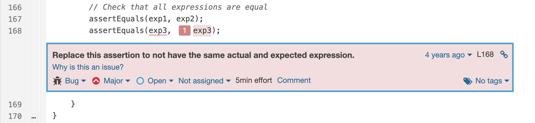Copy/paste errors happen in tests too: `assertEquals(exp3, exp3);`