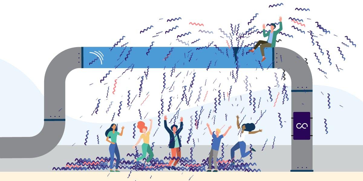 A crowd celebrates a broken pipeline