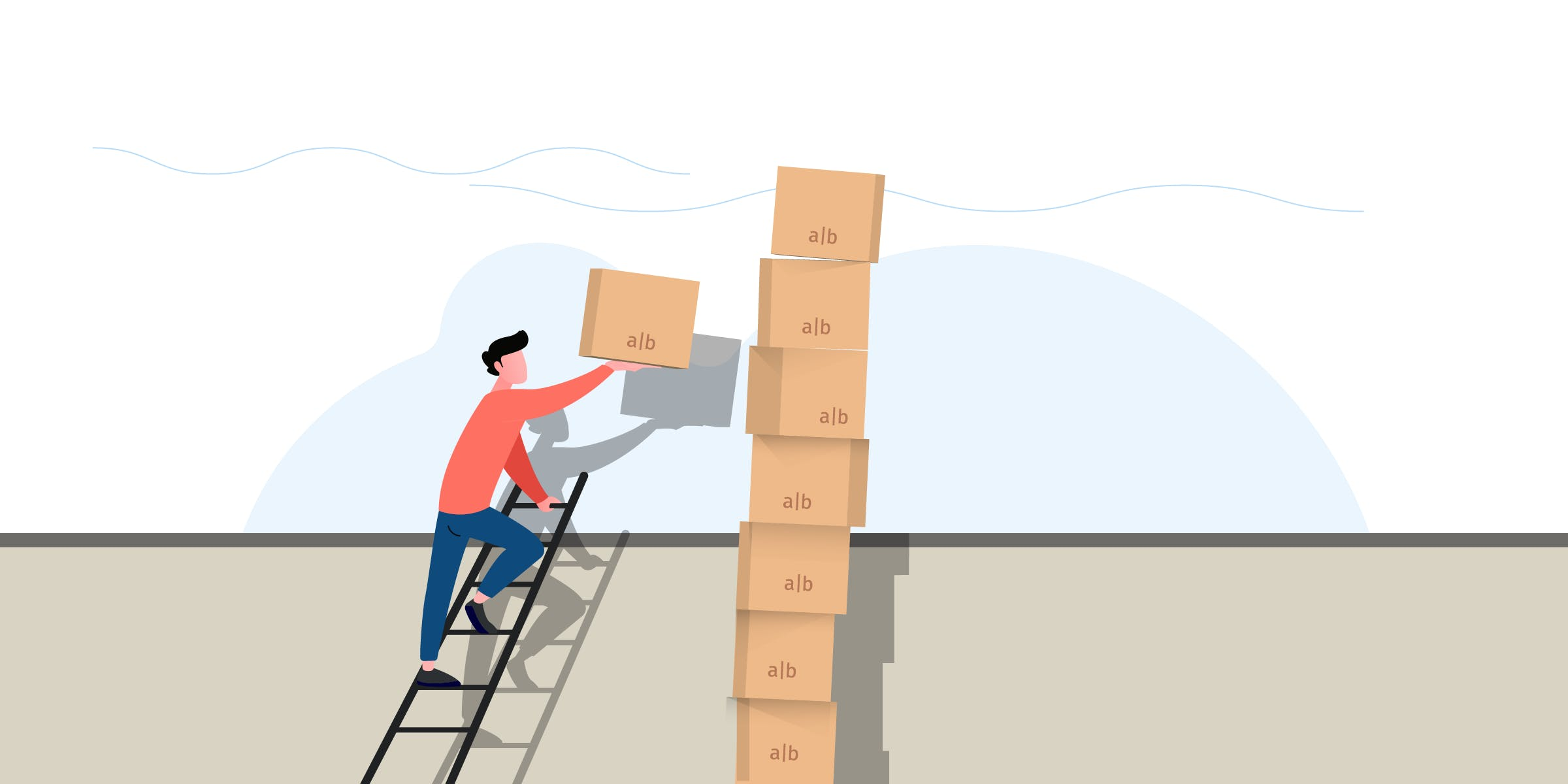 A developer climbs a ladder to add yet another `a|b` box to an already teetering stack