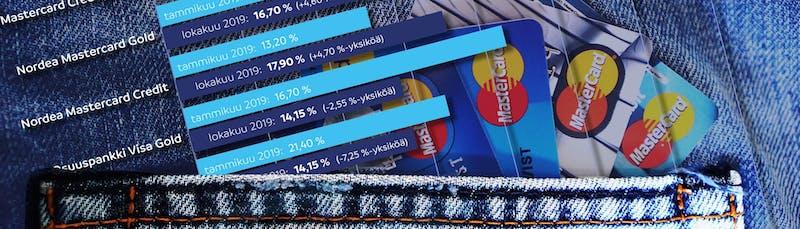 Luottokorttien vertailu kanttaa – pankkien myöntämissä luottokorttien todellisissa vuosikoroissa suuria eroja.