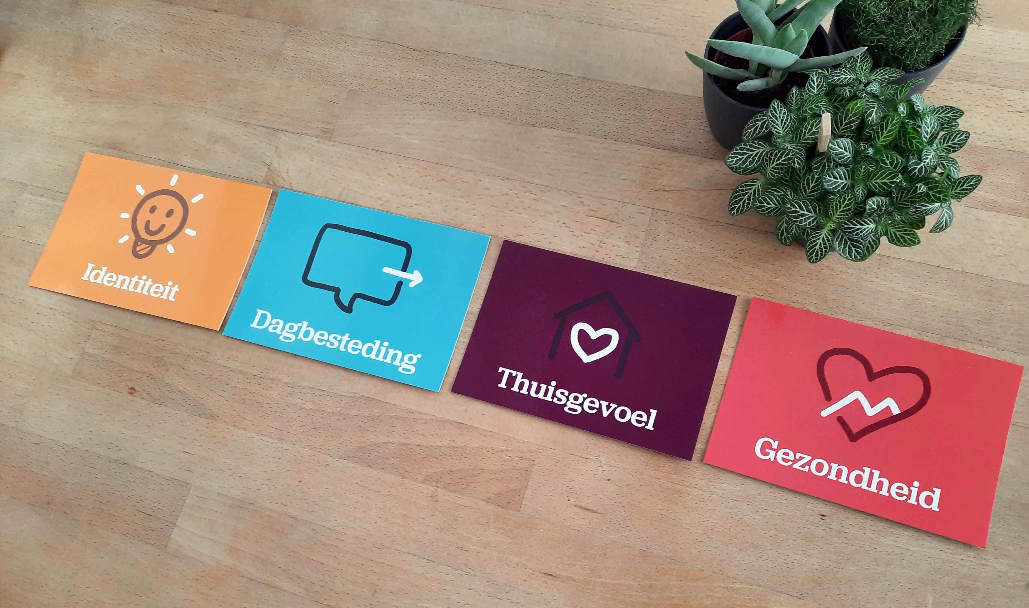 De kaartjes zijn opgedeeld in vier domeinen.