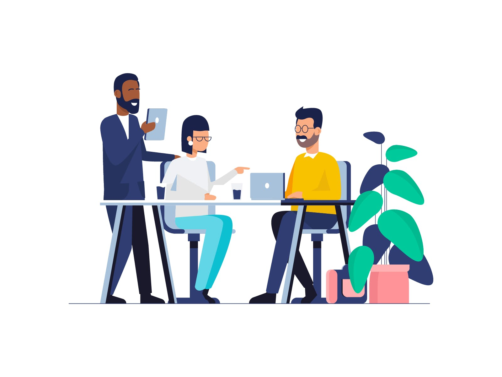Graphic of business people sitting at a desk