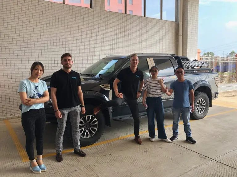 Sourci team visiting a 4x4 auto body parts manufacturer in Zhongshan, China.