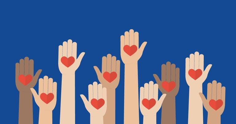 Graphic of raised hands with hearts on the palm