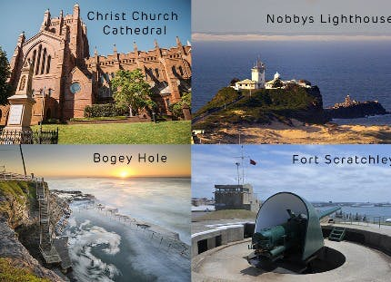 Cathedral, lighthouse, canon and coast