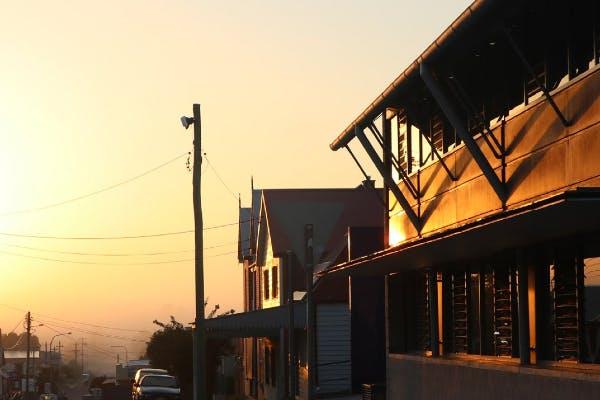 Southern Phone Company Building Moruya at sunset