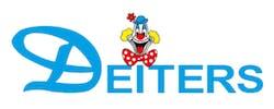 Deiters Schriftzug und Clown-Logo auf weißem Grund