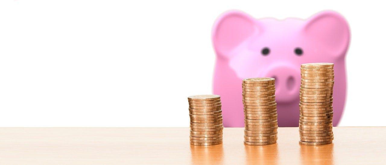 Sparschwein hinter Münzen