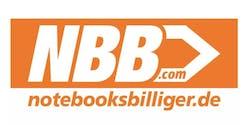 Orange-weißer noteboogsbilliger.de Schriftzug unter NBB.com Logo