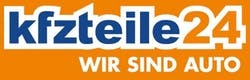 kfzteile24 Logo auf orangenem Grund