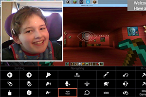 Minecraft screen shot with inset of smiling girl