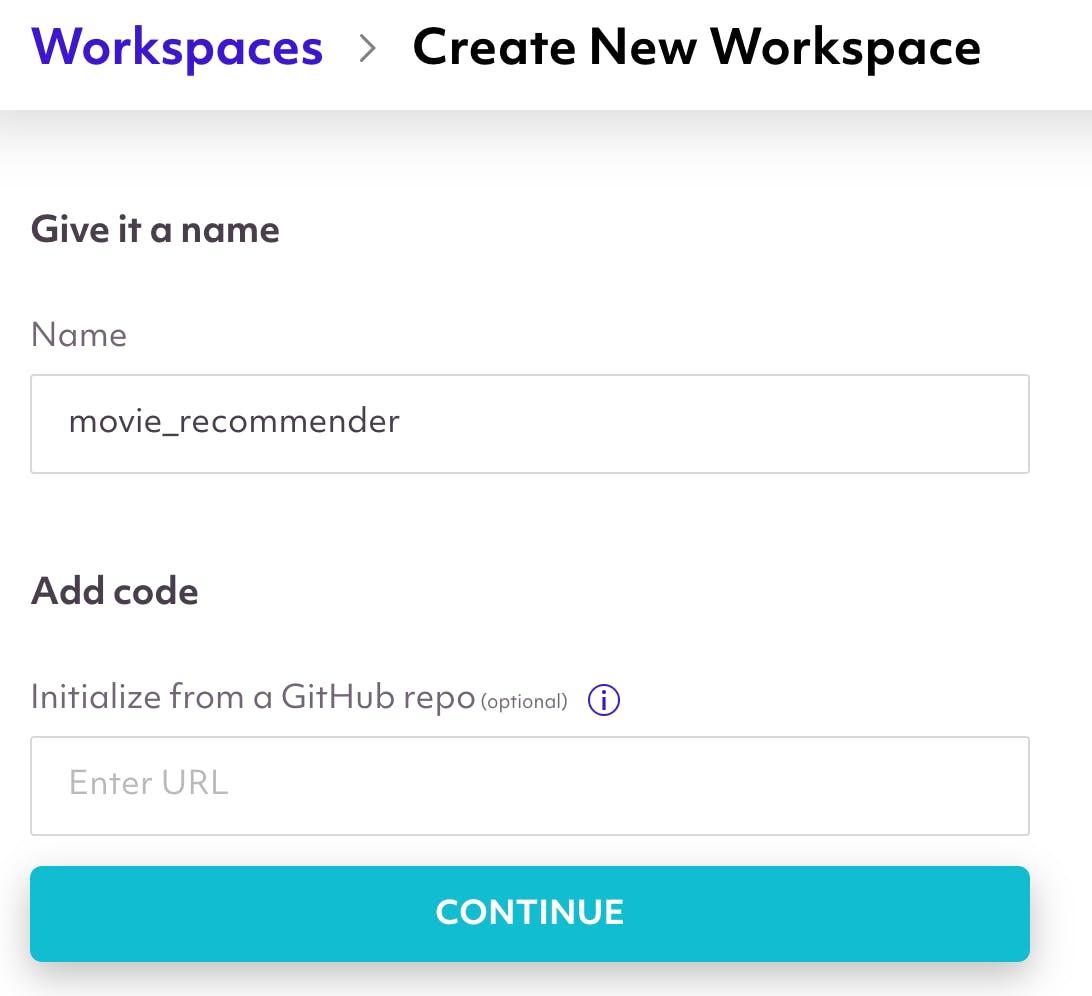 modal, create a new workspace