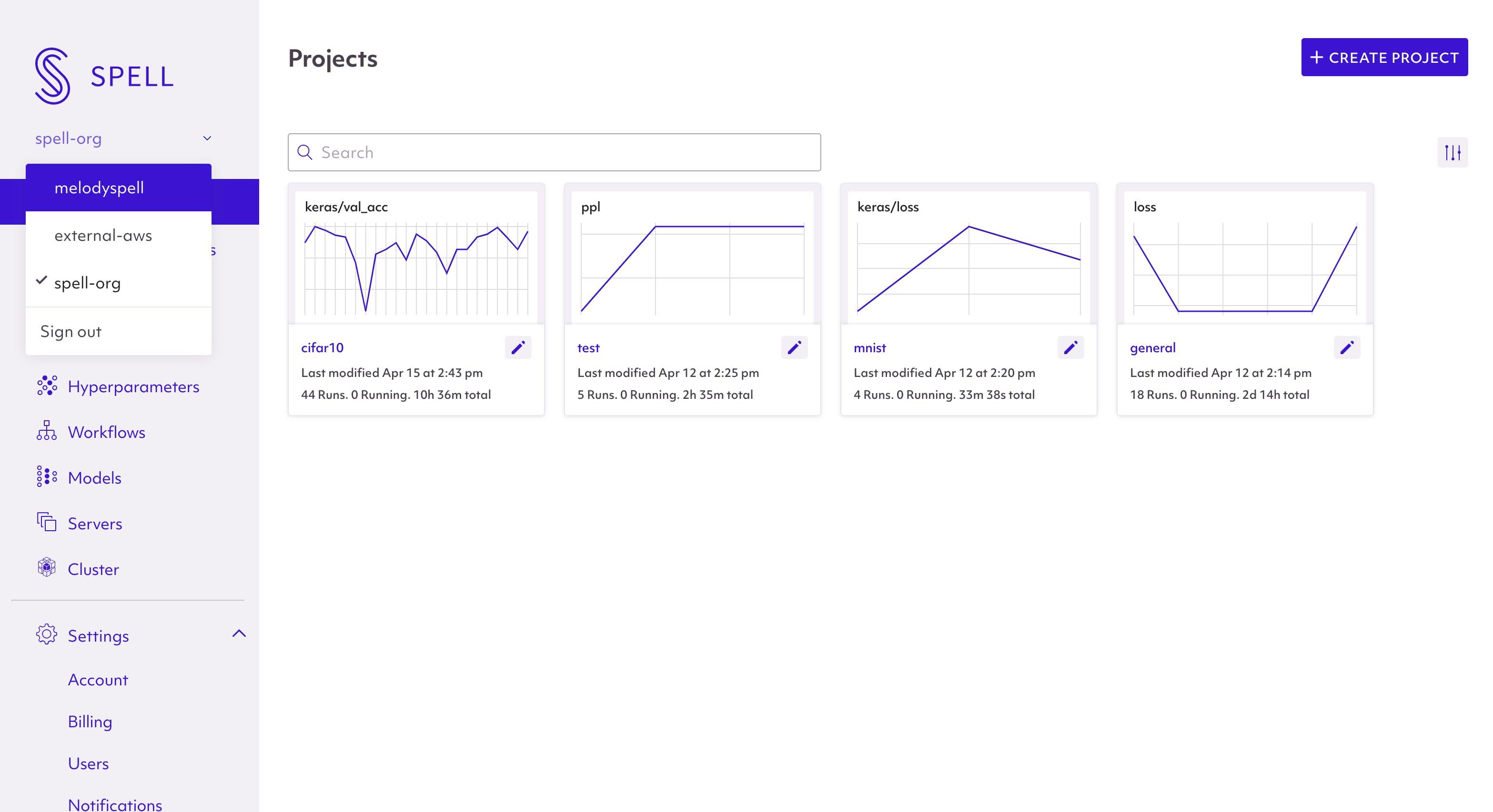 Spell orgs dropdown screenshot