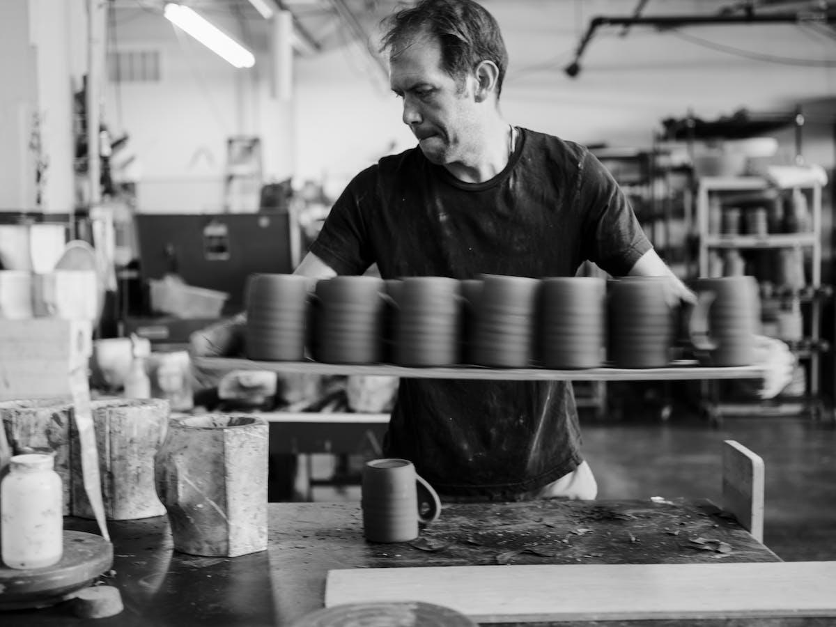 Jono Pandolfi working in his studio.