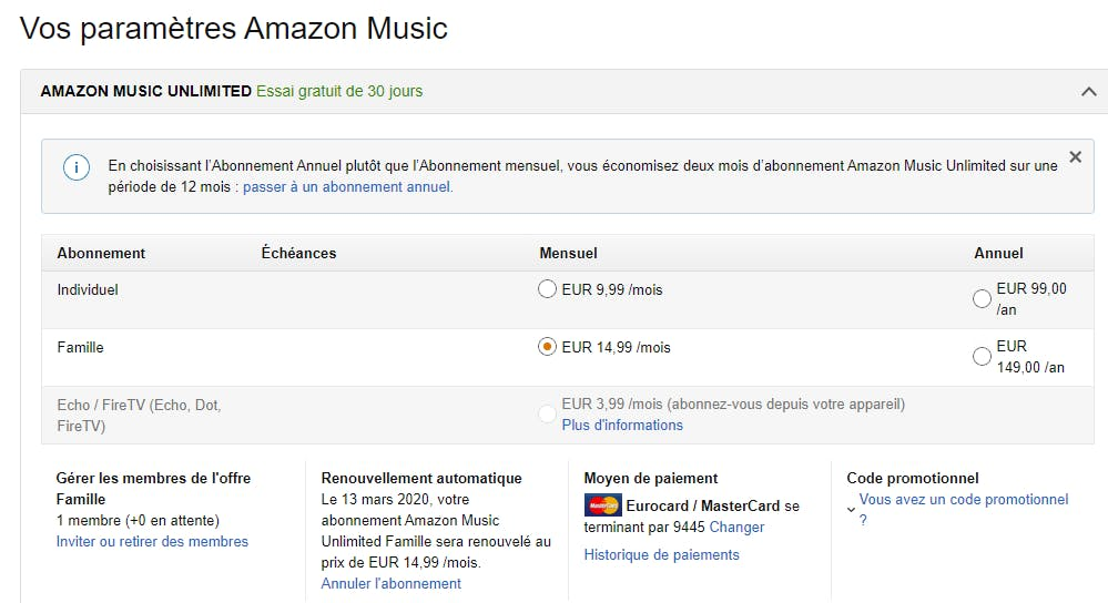 How to share your Amazon Music subscription ?