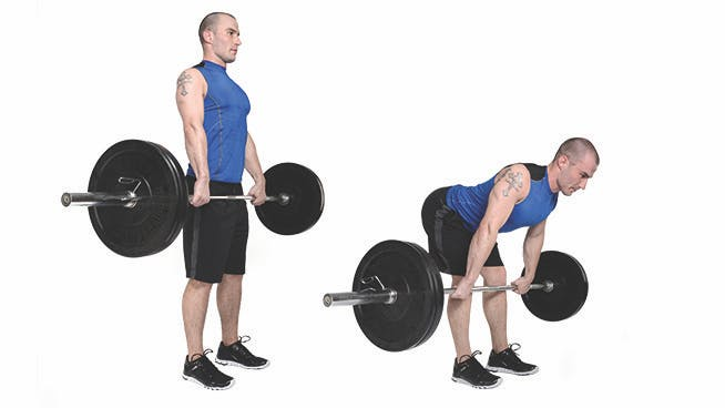 Male performing Romanian deadlift exercise