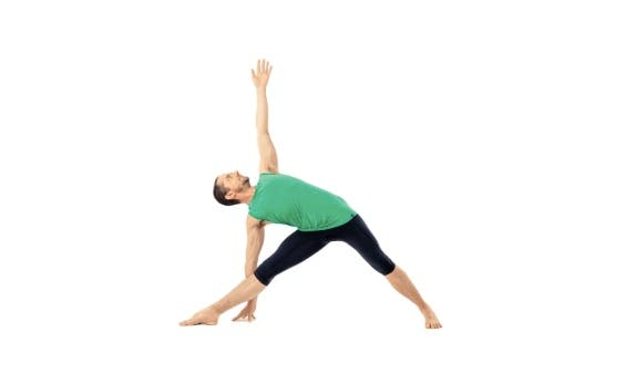 Man doing yoga on white, as a concept of triangle pose