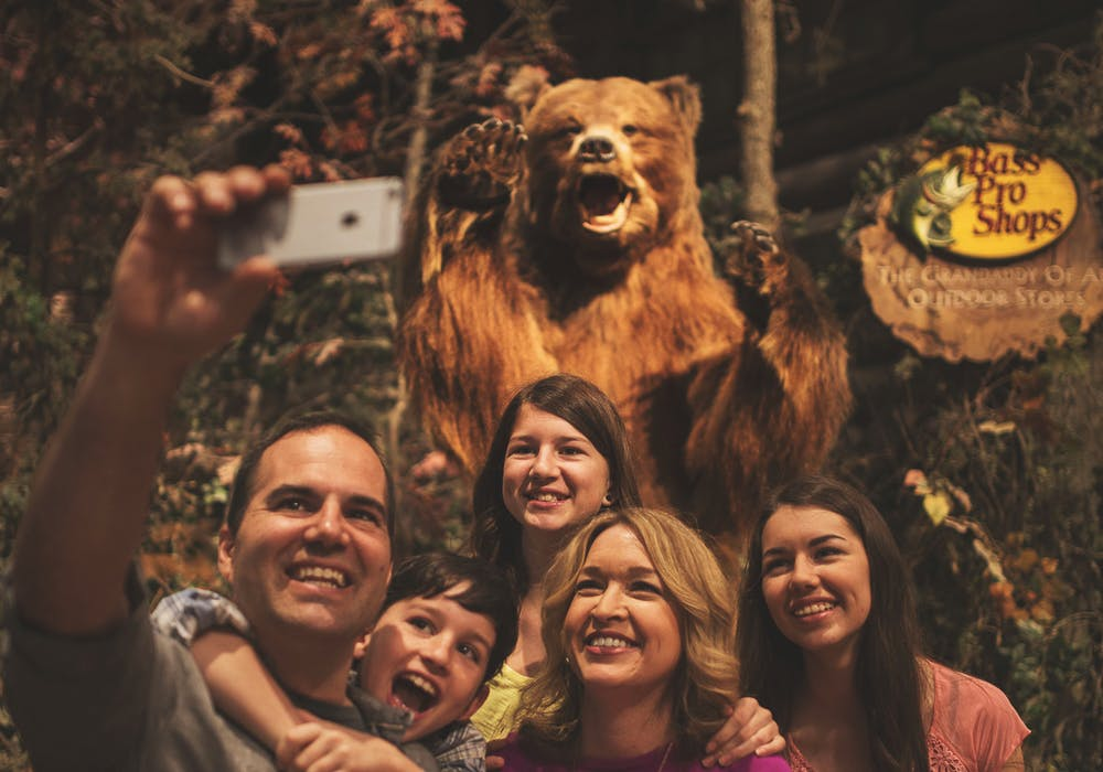 Selfies with the bear at Bass Pro Shops.