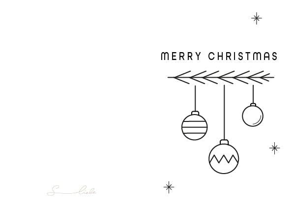Minimalistische Weihnachtskarte mit Ast und Weihnachtskugeln