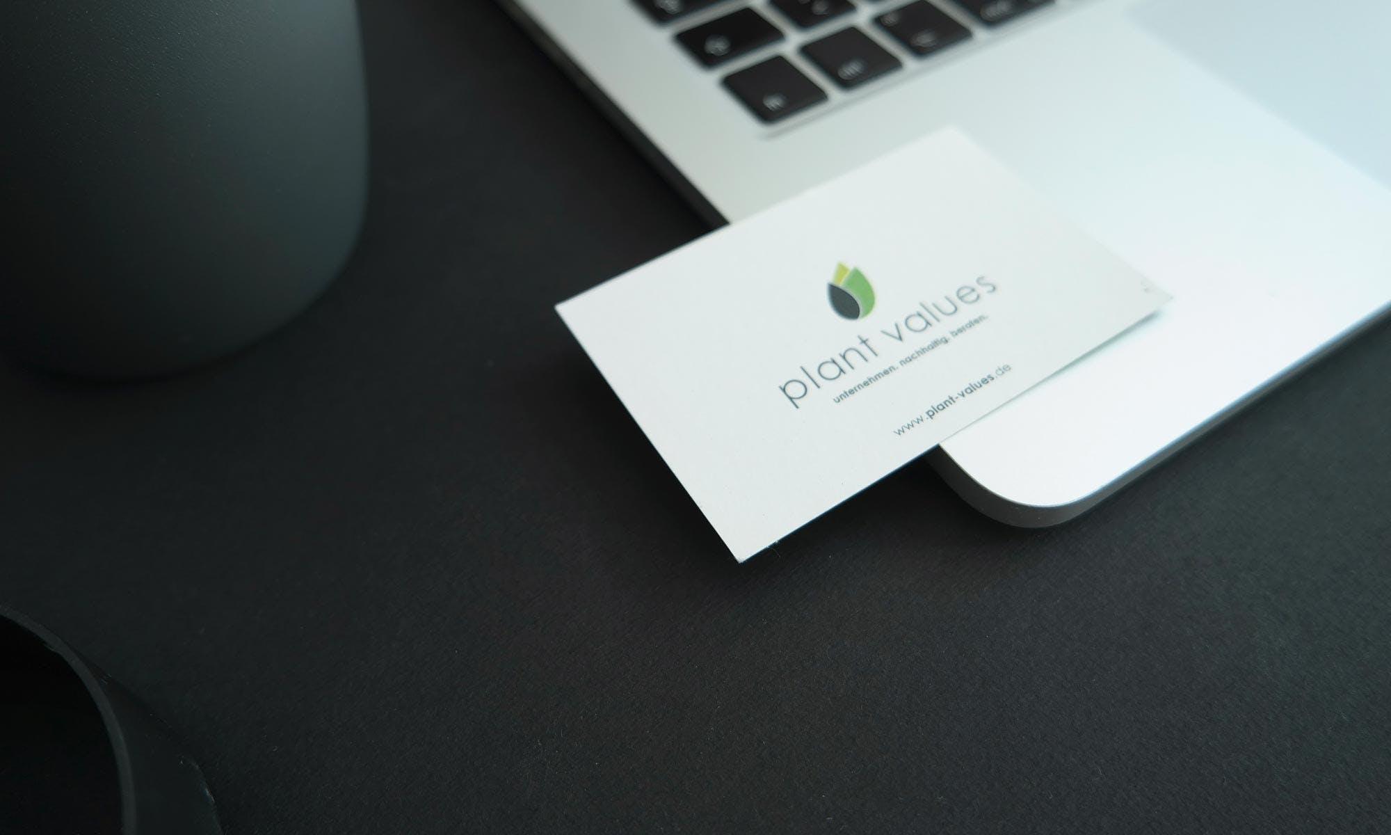 Die Logo-Entwicklung für Plant Values aus Dresden auf einer Visitenkarten.