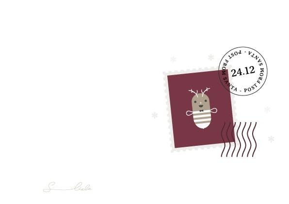 Minimalistische Weihnachtskarte mit Biene