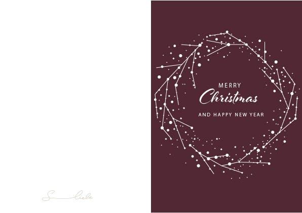Minimalistische Weihnachtskarte mit Kranz