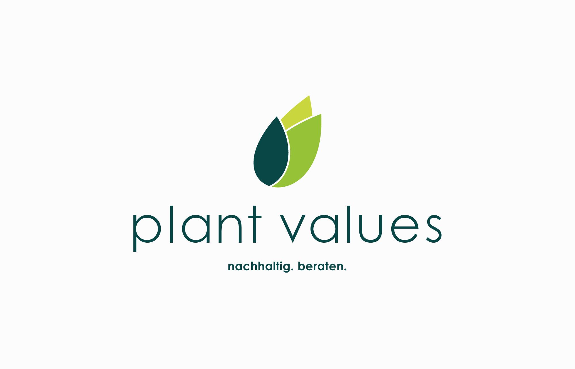 Klare und kompakte Logo-Entwicklung für Plant Values aus Dresden.