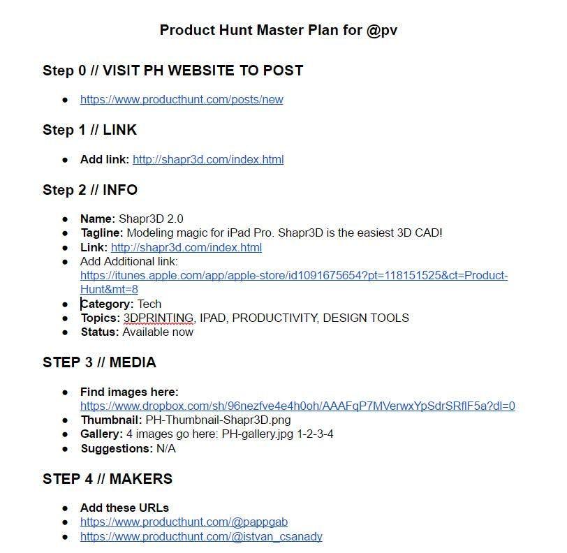 product hunt master plan