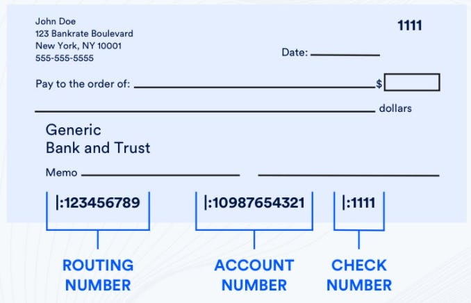 checkbook routing number and account number