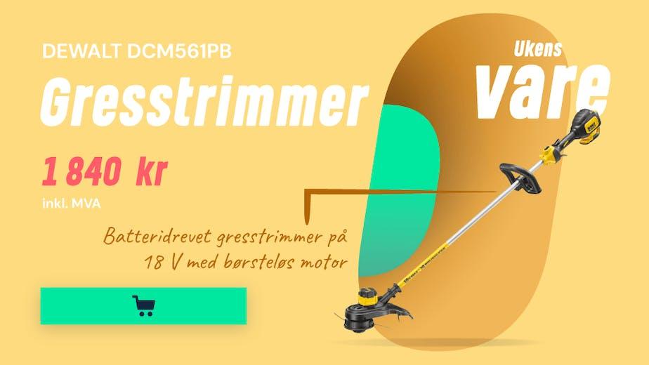 https://www.staypro.no/hage-fritid/hagemaskiner/batteridrevne-hagemaskiner/gresstrimmere-og-ryddesager/dewalt-dcm561pb-gresstrimmer-uten-batterier-og-lader-jd11800-2