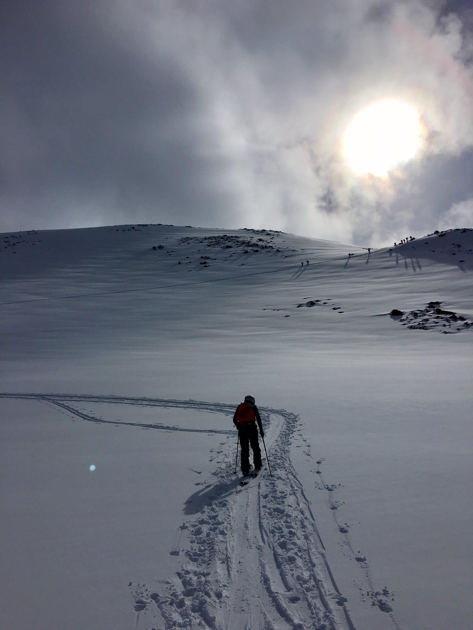 Splitboarder hiking Dalvik Iceland
