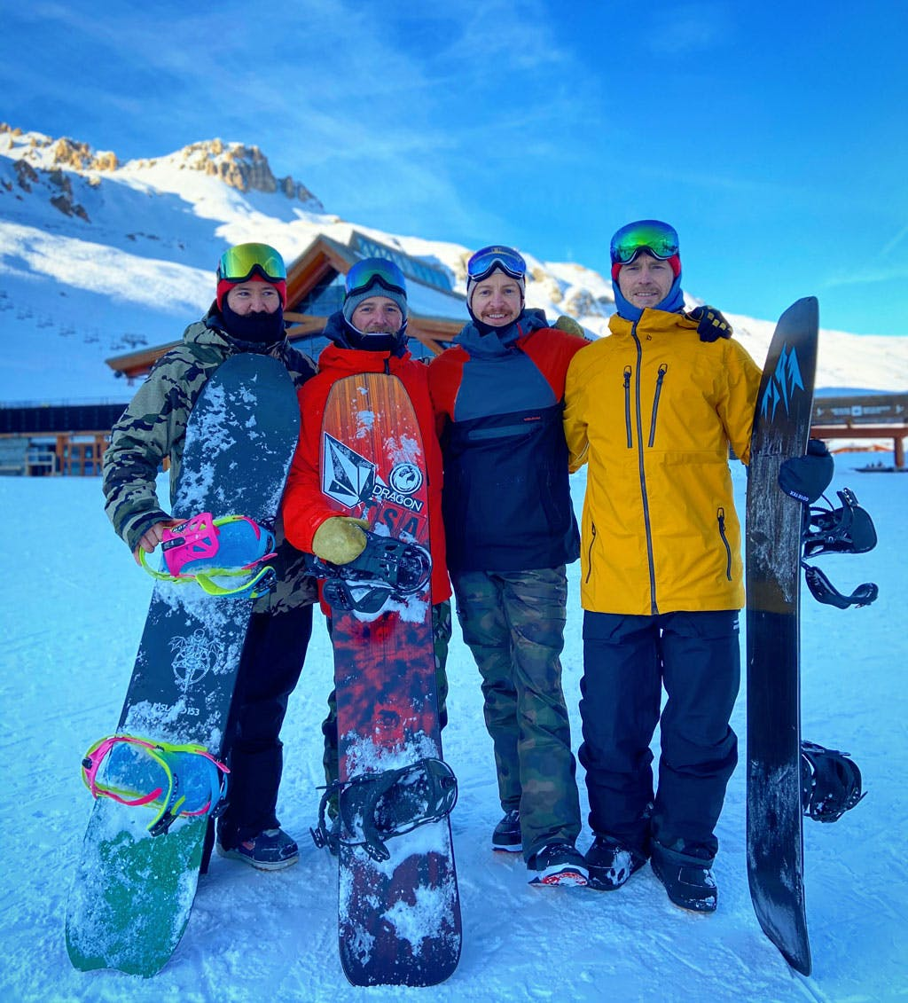 Backckountry Snowboarder group