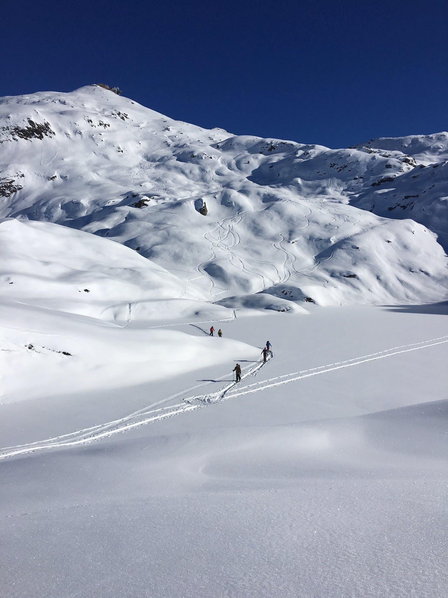 Splitboarders hiking in backcountry Chamonix