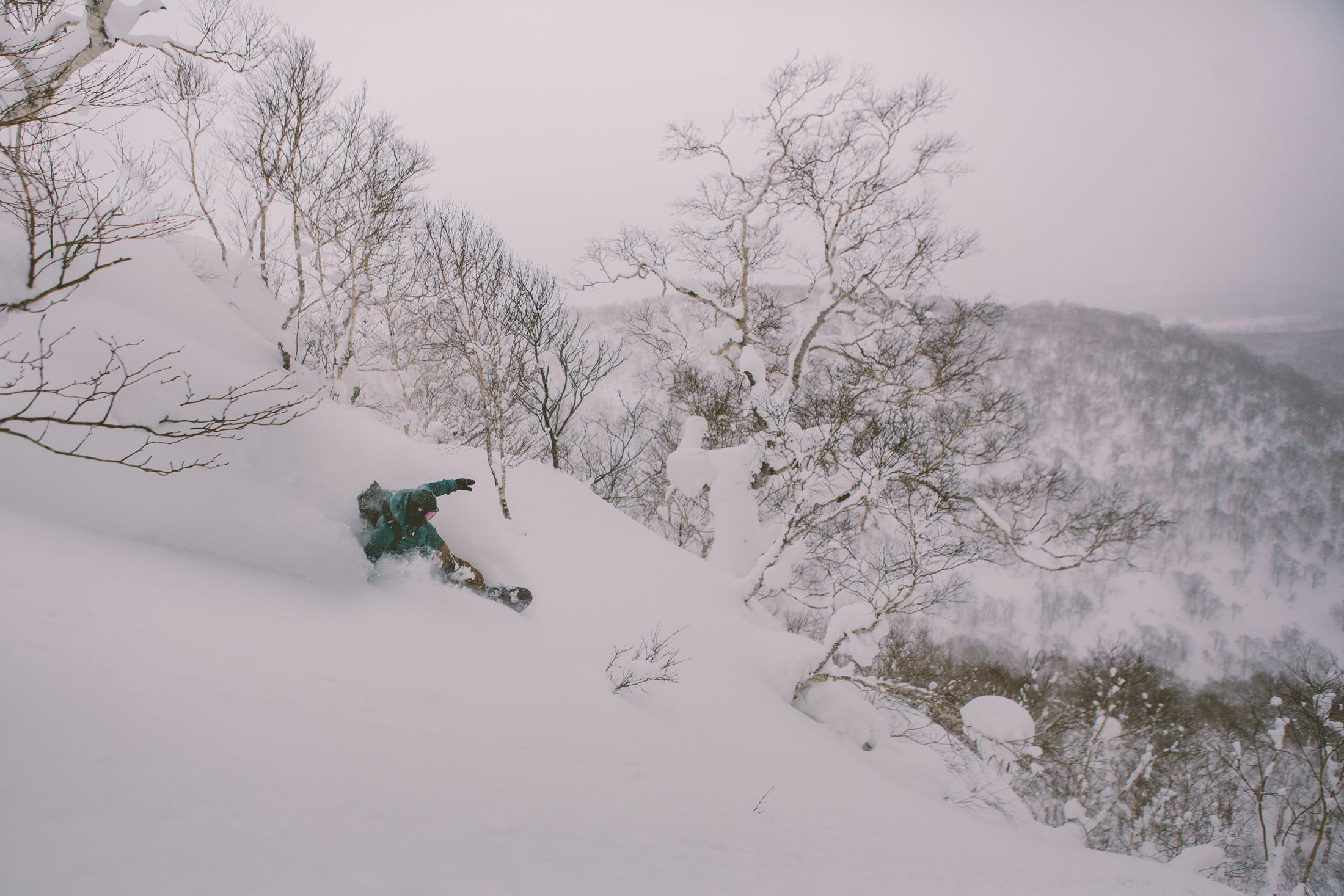 snowboarder powder turn freeriding Japan
