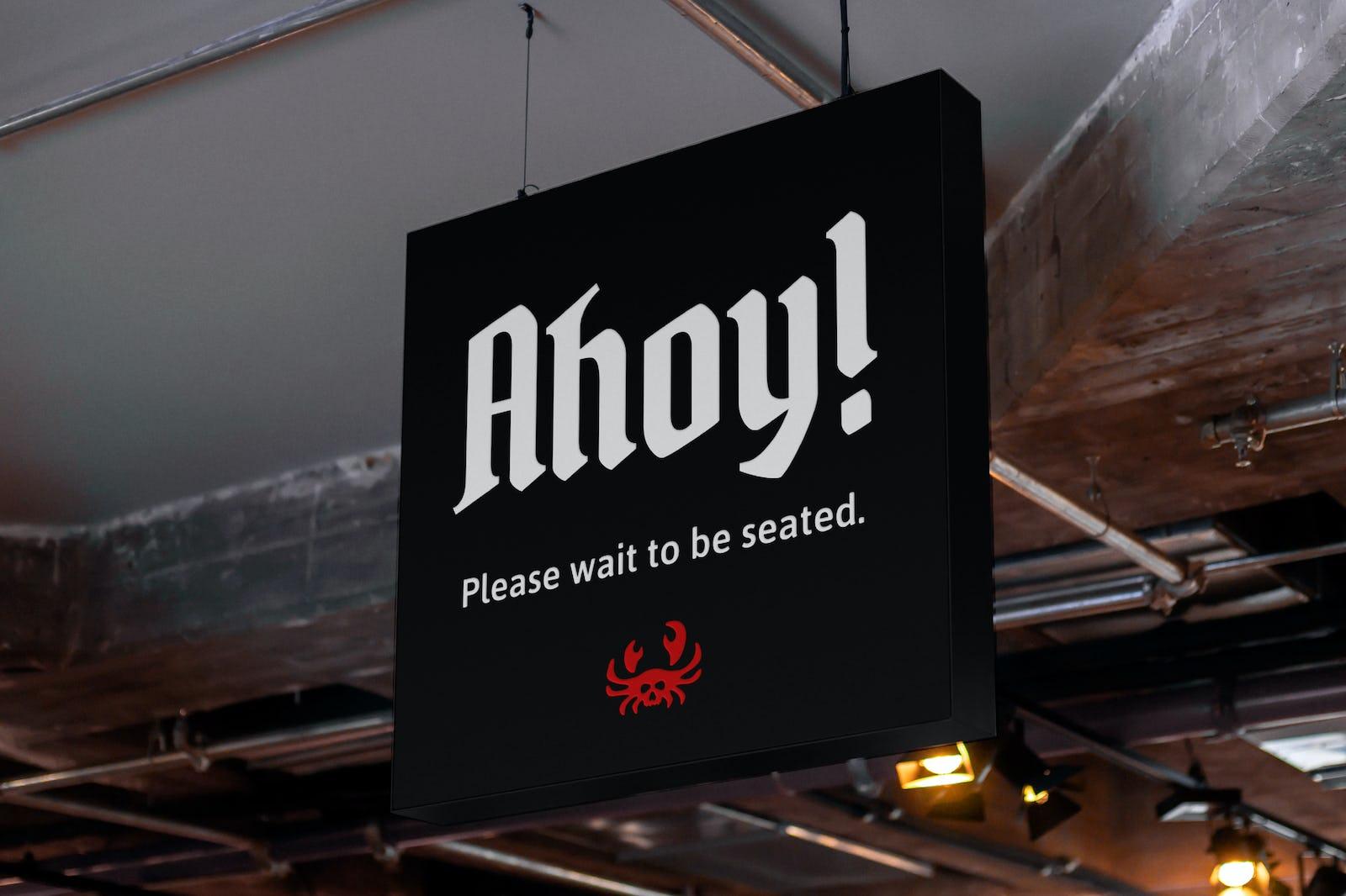 Ahoy crab mark sign