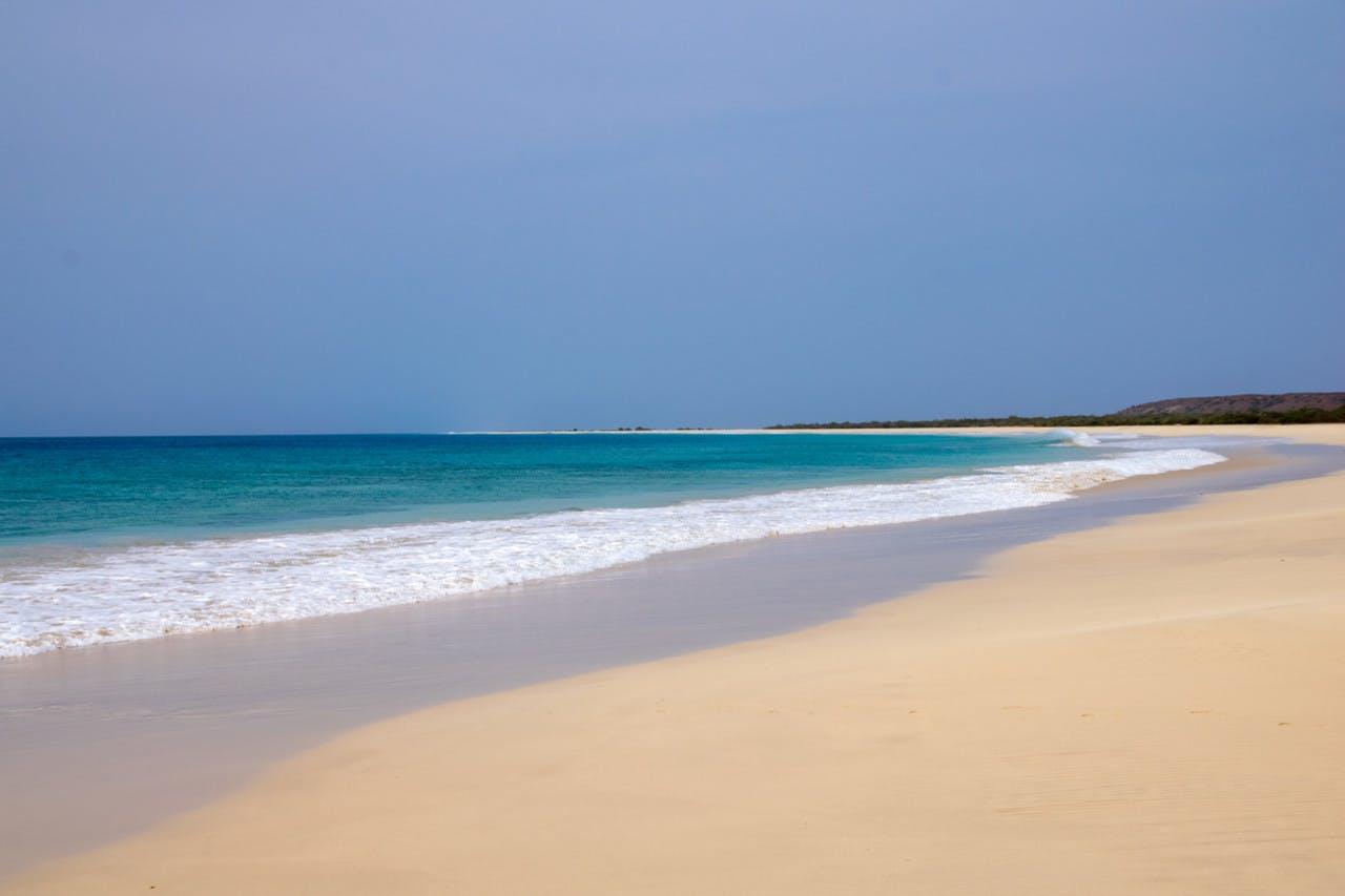 Santa Monica beach white sand