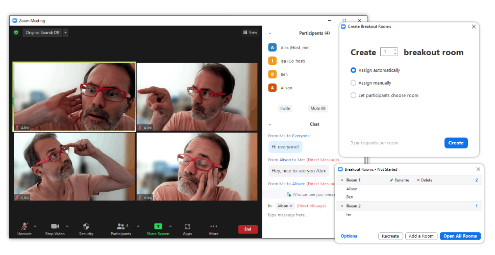 Zoom user interface with breakout settings