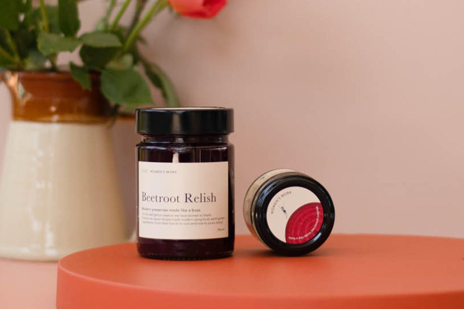 A jar of Women's Work beetroot relish