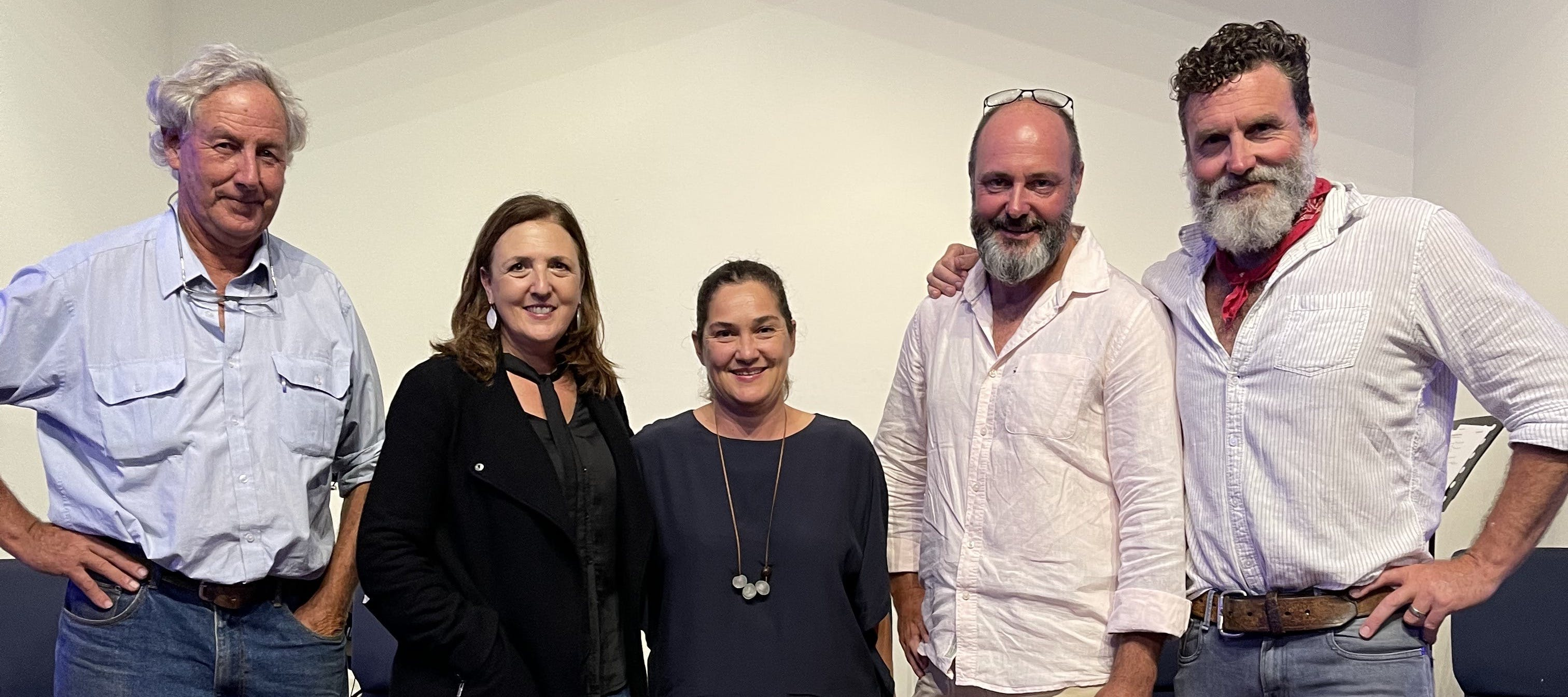 Charles Massy, Tawnya Bahr, Lucy Allon, Murray Prior, Charlie Arnott at Soil to Stomach event, 13 March 2021