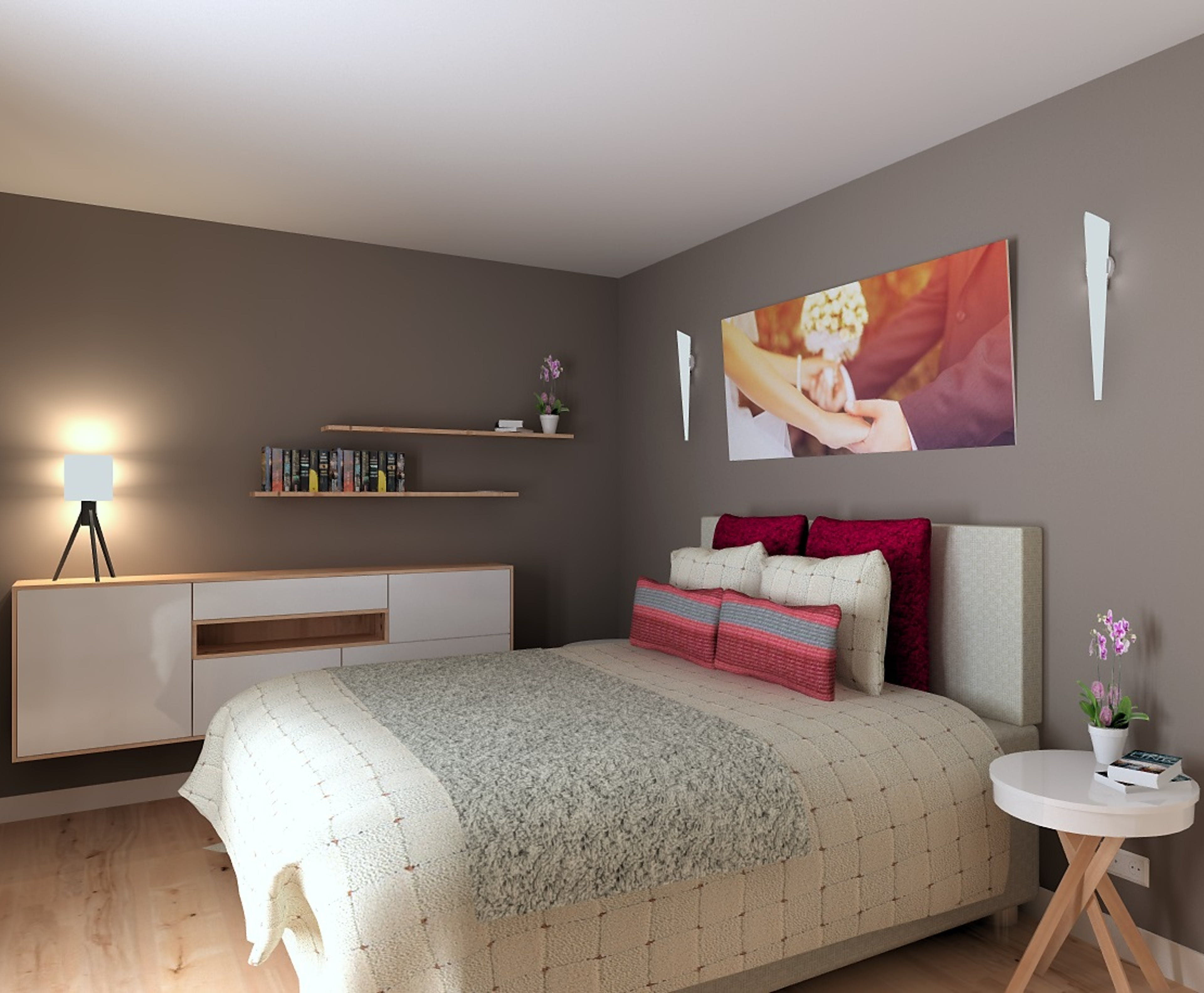 3D render of a contemporary bedroom, with a white high-gloss storage unit. Supplied by Compusoft.