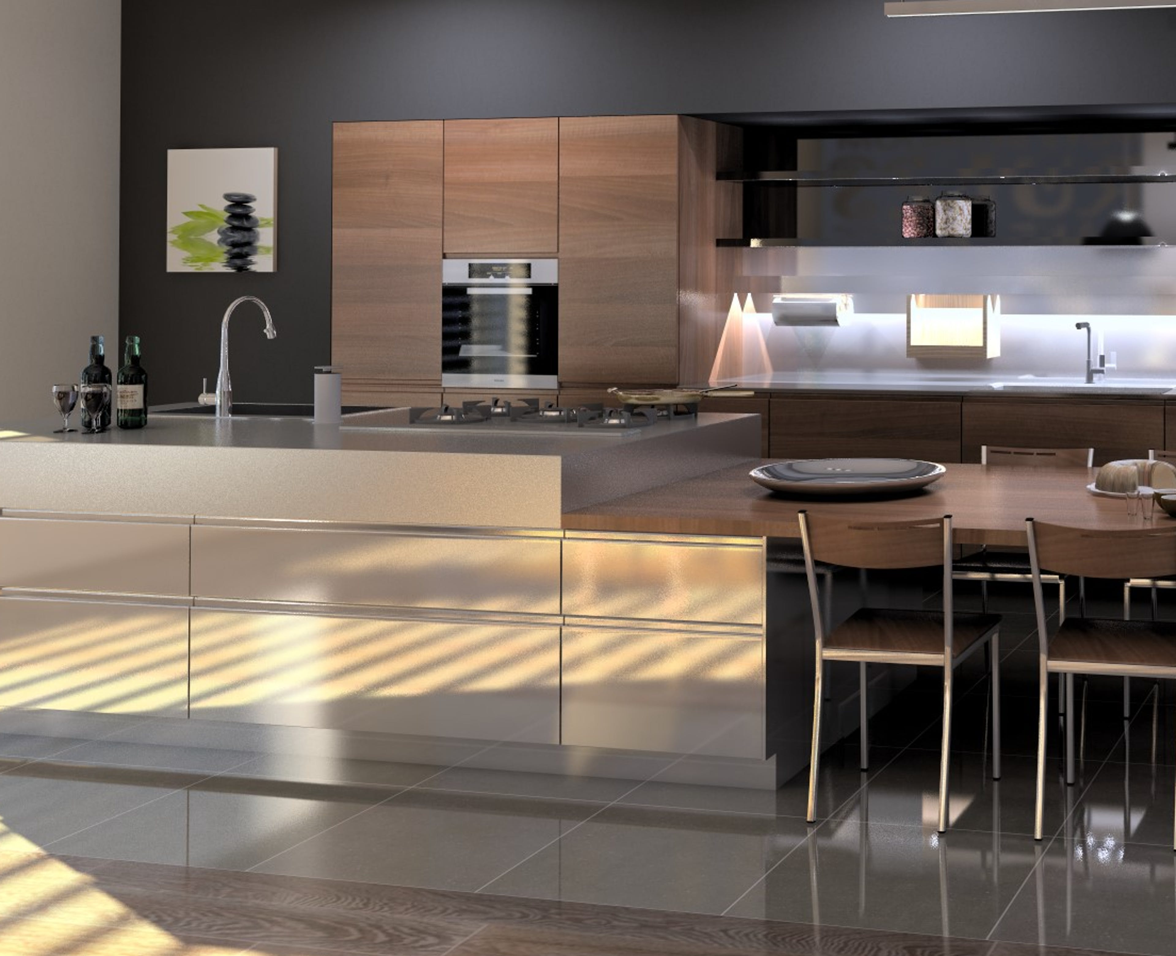 3D Render of a bold and modern kitchen with medium brown woodmatt joinery and a metallic island bench. Supplied by Compusoft