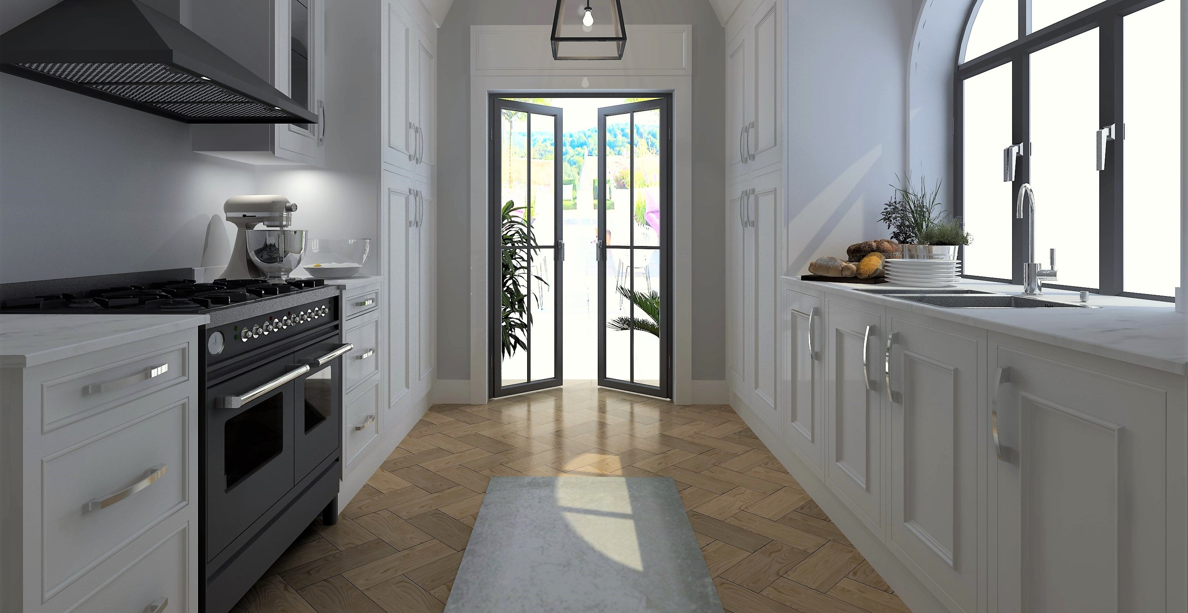 3D render of contemporary gallery kitchen. With white shaker style doors and white stone benchtops.