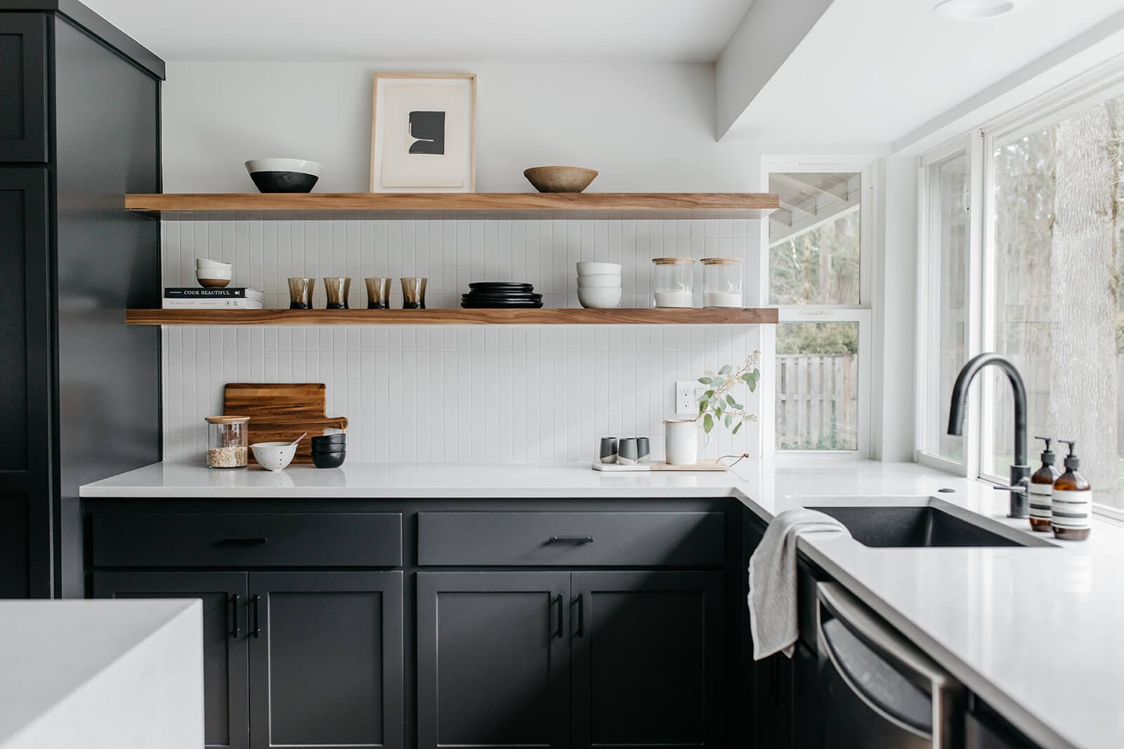 Kitchen sink and shelves