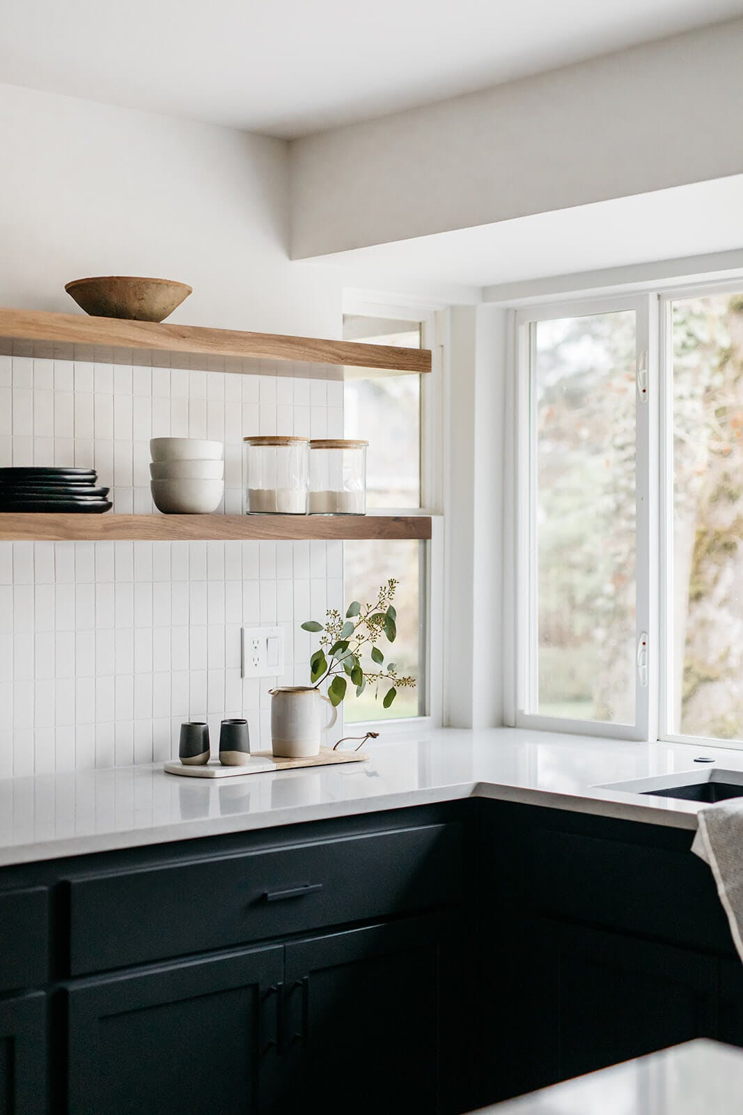 Kitchen window and shelves