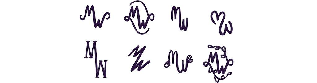 logo schetsen trouwkaart