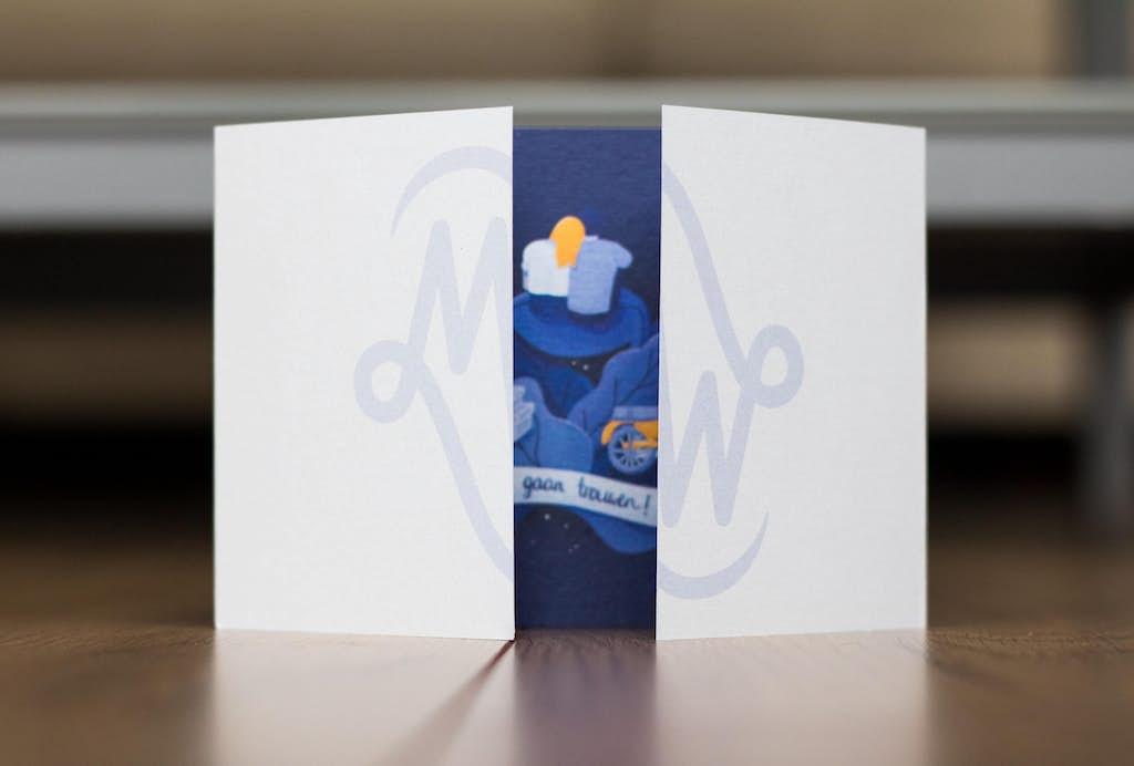 voorkant opening trouwkaart met logo